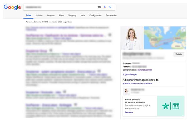 Marcar consulta no Google através da Doctoralia