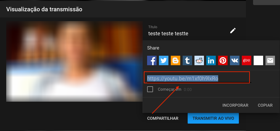 Live YouTube - Passo 4