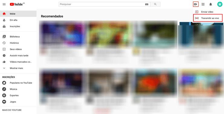 Live Youtube - Passo 1-