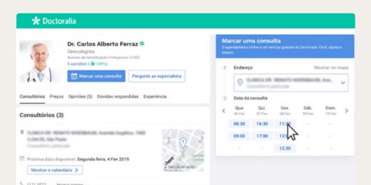 Agendamento online em perfil Premium na Doctoralia