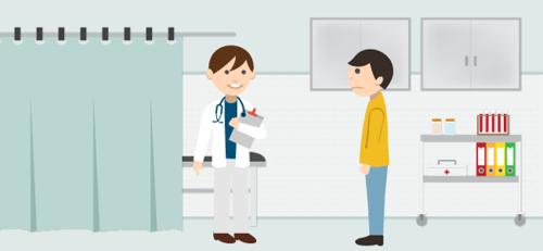 Pacientes masculinos no consultório